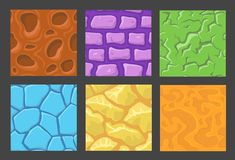 Set of pattern for game background, vector stone and wall background textures collection for game Stock Photo