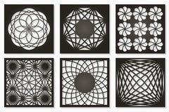 Set pattern geometric ornament. Card for laser cutting. Element decorative design. Geometric pattern. Vector illustration stock illustration
