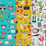 Set Of Pattern With Hand Drawn Doodle Lovely Background. Doodle Funny. royalty free stock photos