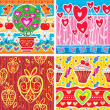 Set of pattern with hearts Royalty Free Stock Images
