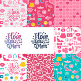 Set pattern mom. Set Vector I love you Mom. Lettering inscription congratulation on Mother`s Day.  Female interests are symbols. Seamless pattern background Royalty Free Stock Photography