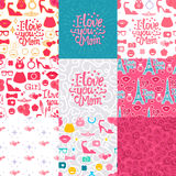 Set pattern mom. Set Vector I love you Mom. Lettering inscription congratulation on Mother`s Day.  Female interests are symbols. Seamless pattern background Stock Photo