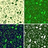 Set pattern plant leaves on colorful backgrounds- vector illustration, eps royalty free illustration