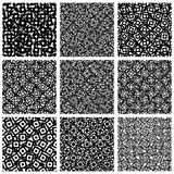 Set of 9 pattern with random, irregular shapes. Royalty free vector illustration Royalty Free Stock Photo