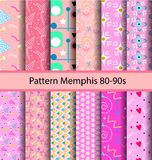 12 set pattern 80s background. Seamless abstract geometric pattern in retro style Memphis, 80-90s fashion, it can be used in print, web and design fabric Royalty Free Stock Photo