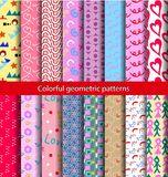 16 set pattern 80s background. Seamless abstract geometric pattern in retro style Memphis, 80-90s fashion, it can be used in print, web and design fabric Royalty Free Stock Photos