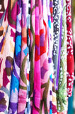 Set of pattern scarves hanging at oriental bazaar Royalty Free Stock Photography