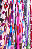 Set of pattern scarves hanging at oriental bazaar Stock Photos