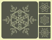 Set of pattern snowflakes. Royalty Free Stock Photos