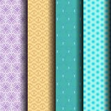 Set pattern of stripes and geometrical in purple, blue and brown. Can be used endlessly Stock Photo
