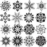 Set of pattern tattoo. 16 Mandalas in black.  stock illustration