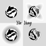 Set pattern of Yin Yang Koi fish isolated illustrations. stock illustration