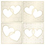 Set of patterned background decorations. Golden cover templates for greeting cards. Frames of hearts for Valentines Day.  stock illustration