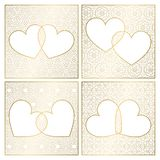 Set of patterned background decorations. Golden cover templates for greeting cards. Frames of hearts for Valentines Day.  vector illustration