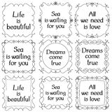 A set of patterned frames with inscriptions. On white background. 9 frames. Vector illustration Stock Photo