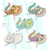 Set of patterned head of elephant stock illustration