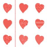 Set of patterned hearts Royalty Free Stock Images