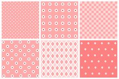 Set of patterns. Collection of pink and white backgrounds Royalty Free Stock Images