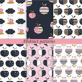 Set of patterns with abstract  apples, flowers and bugs. For kids desig, scrapbook paper, wrapping paper Stock Photo