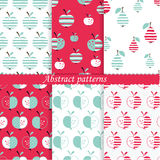 Set of patterns with abstract  apples and pears Stock Photos