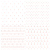 Set of patterns for baby girl in marine style. Anchors, waves, polka dots and starfishes seamless vector backgrounds Stock Images