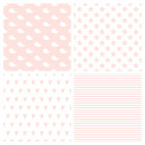 Set of patterns for baby girl in marine style. Cute whales, hearts, stripes and starfish. Seamless vector backgrounds Royalty Free Stock Photos