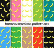 Set of patterns with bananas, seamless texture, wallpaper. Vector, textile, wrapping with summer fruits packaging for banana. Illustration on healthy food with Stock Photos