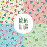 Set of patterns with birds Royalty Free Stock Image