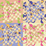 Set of patterns with  cats Royalty Free Stock Photography