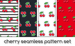 Set of patterns with cherries, seamless texture, wallpaper. Royalty Free Stock Photo