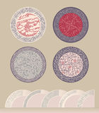 A set of patterns in a circle. Figure for plates or saucers. Thick mold filling linear pattern  imitating lace. Royalty Free Stock Images