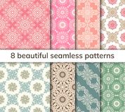 Set of 8 patterns. Collection arabic, indian, japanese, islamic vector illustration