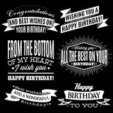 Set of patterns for congratulations a happy birthday Royalty Free Stock Images