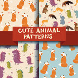 Set of 4 patterns with Cute Animals. Dinosaur, fox, cat Royalty Free Stock Images