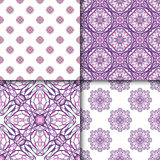 Set of patterns with decorative symmetric oriental ornaments Stock Image