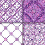 Set of patterns with decorative symmetric oriental ornaments Royalty Free Stock Photos