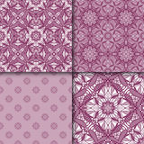 Set of patterns with decorative symmetric oriental ornaments. Vector seamless texture Royalty Free Stock Image