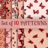 Set of 10 patterns - doodle plants, flowers and butterflies Royalty Free Stock Photo