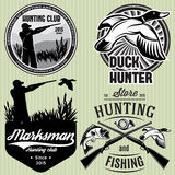 Set of patterns with duck, dip, gun, hunter for hunting emblem. Set of vector patterns with duck, dip, gun, hunter for hunting emblem Royalty Free Stock Photography