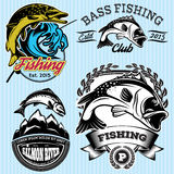 Set of patterns with emblems for fishing with pike, salmon, bass Stock Photo