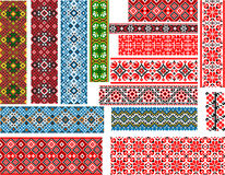Set of Patterns for Embroidery Stitch. Set of  colorful seamless ethnic patterns for embroidery stitch Royalty Free Stock Photos