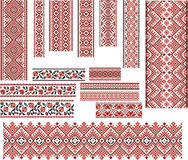 Set of Patterns for Embroidery Stitch. Red and Black Stock Images
