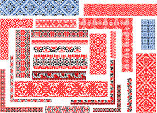 Set of Patterns for Embroidery Stitch. Set of  seamless ethnic patterns for embroidery stitch in red and black. Corners, borders, frames Royalty Free Stock Photos