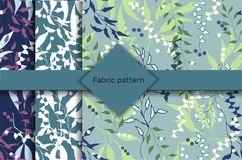 A set of patterns with a floral pattern. Bright flying texture. Violet and white leaves on a green background for fabrics, tiles.  vector illustration