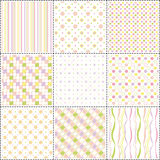Set of patterns with flower, stripe and shape Stock Images