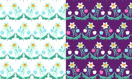 Set of  patterns with flowers. Beautiful vector illustration. Stock Photography