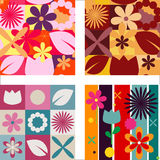 Set of patterns with flowers and leafs Stock Image