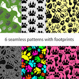 Set of patterns with footprints and bones Stock Image