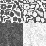 Set of patterns glamorous female illustrations. Black and white seamless pattern. Set of patterns glamorous female illustrations. Black and white vector Royalty Free Stock Photography