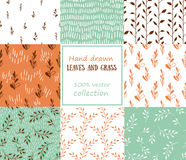 Set of patterns. Grass and leaves background. Royalty Free Stock Photography